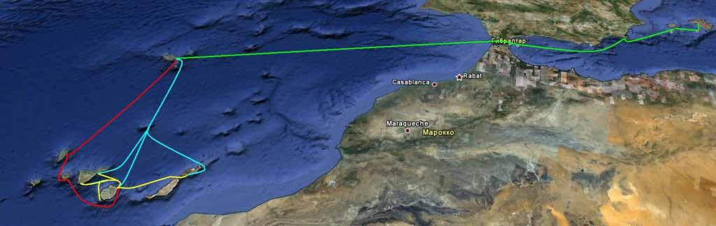 Предполагаемый маршрут: красным цветом – маршрут ралли «Атлантическая маевка 2011», желтым – сбор флота в Лас Пальмасе, голубым – возвращение канарского флота, зеленым – уход флота «Канары-Балеары» на Майорку.