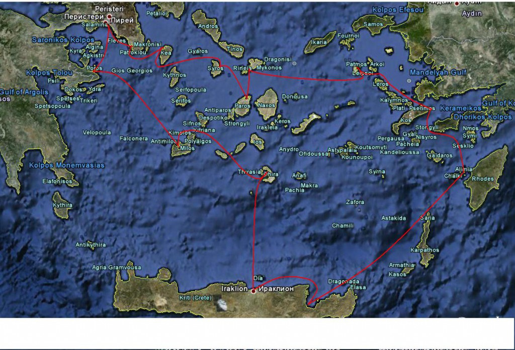 Маршрут ралли по греческим островам 2011.